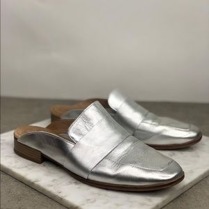 Free People Silver Leather Slip On Flat Mules
